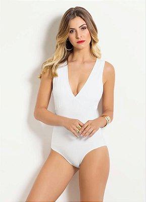 Body Decote em V Branco