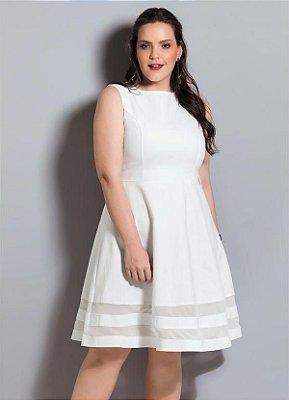 Vestido Godê Branco Plus Size