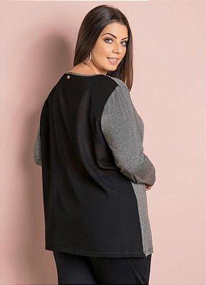 Blusa com Transparência Mescla e Preta Plus Size