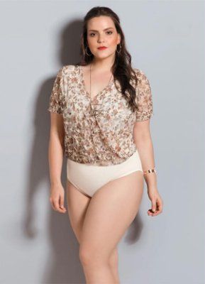 Body de Renda Floral Plus Size