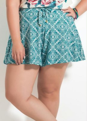 Short Soltinho Azulejo Plus Size