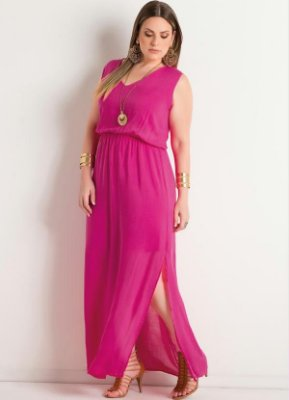Vestido Longo com Fenda Pink Plus Size