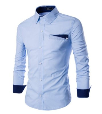 Camisa Masculina Lapela Azul Claro