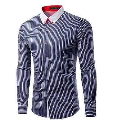 Camisa Masculina Duo Listrada Azul Marinho