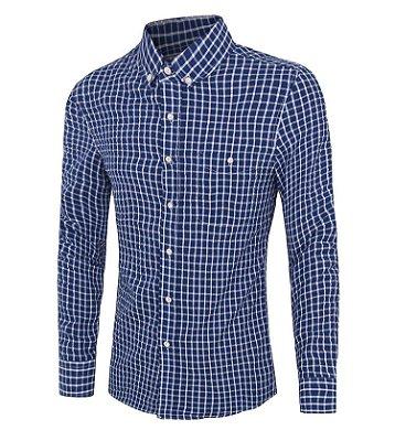 Camisa Masculina Xadrez Azul Escuro