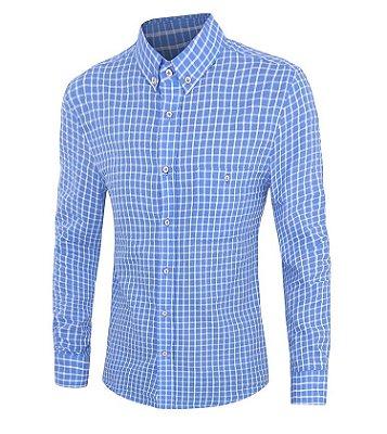 Camisa Masculina Xadrez Azul Claro