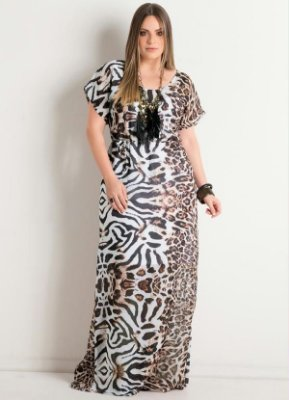Vestido Longo Animal Print Mangas Curtas Plus Size