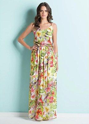 Vestido Longo de Alça Estampa Tropical