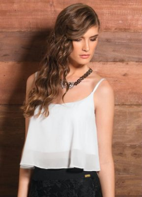 Top Cropped Chiffon Branca