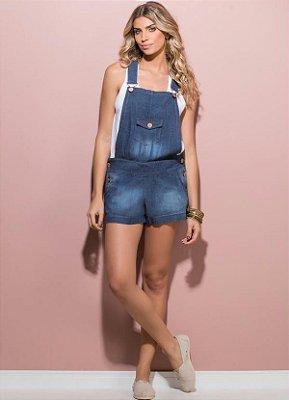 Jardineira Jeans com Bolso Frontal