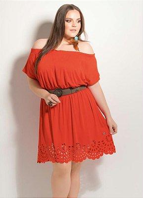 Vestido Detalhe Vazado Laranja Plus Size