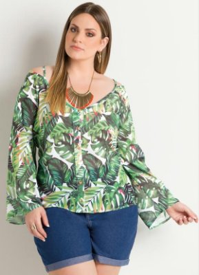 Blusa Ciganinha Folhagens Plus Size