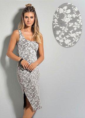 Vestido Midi com Fenda Branco e Preto
