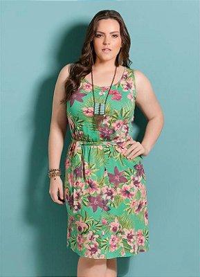 Vestido Floral com Amarração na Cintura Plus Size