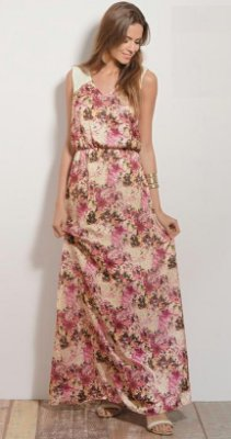 Vestido Longo Floral em Cetim