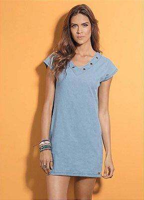 Vestido Reto Azul com Ilhós no Decote