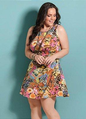 Vestido Evasê Mix Floral Plus Size