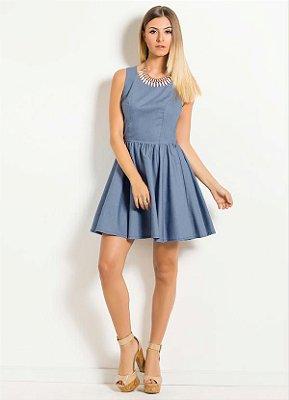 Vestido Godê Azul com Laço nas Costas