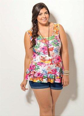 Blusa Floral com Babado Plus Size