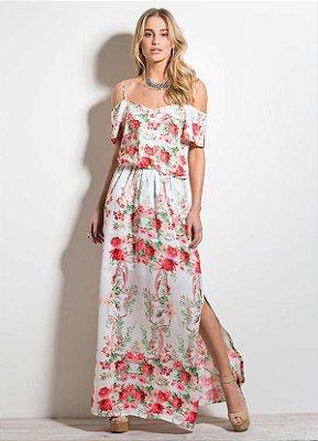 Vestido Longo Floral Ombros Vazados
