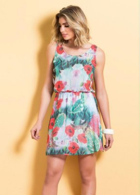 Vestido de Chiffon Estampa Tropical