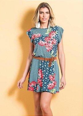 Vestido Mix Floral Acinturado