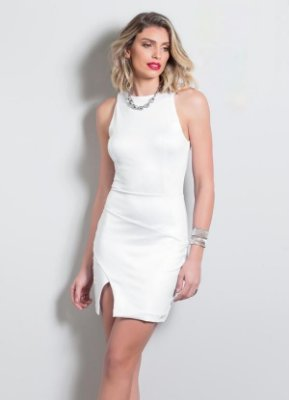 Vestido Tubinho com Fenda Branco