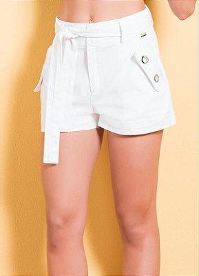 Short Branco com Faixa