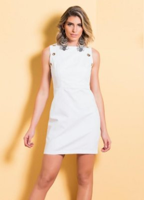 Vestido Tubinho Branco com Ilhós