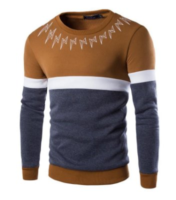 Suéter Masculino com Detalhe na Gola - Caramelo