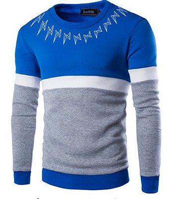 Suéter Masculino com Detalhe na Gola - Azul