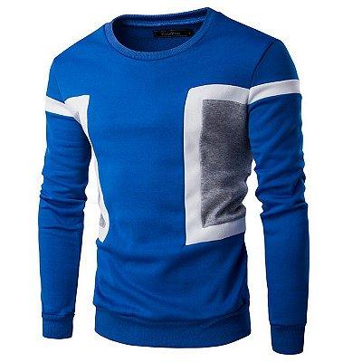 Suéter Masculino com Detalhe na Lateral - Azul