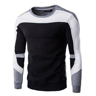 Suéter Masculino Recortes - Preto