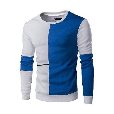 Suéter Masculino Duo - Branco e Azul