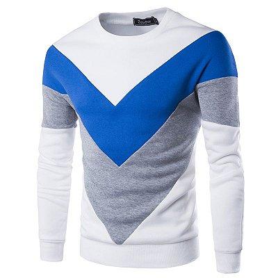 Suéter Masculino Detalhe Triangular - Branco