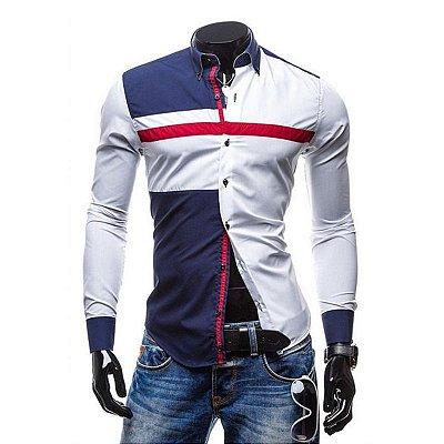 Camisa Masculina Duo Geométrica - Azul e Branco