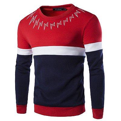 Suéter Masculino com Detalhe na Gola - Vermelho
