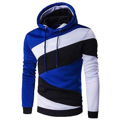 Moletom Masculino Faixas - Azul/ Branco
