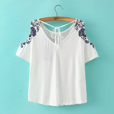 Blusa Porcelain Print Off Shoulder
