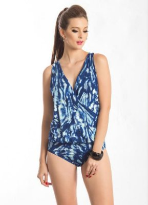 Body Decote V Transpassado Estampado Azul