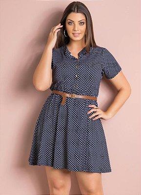 Vestido Evasê Poá Azul e Cinto Plus Size