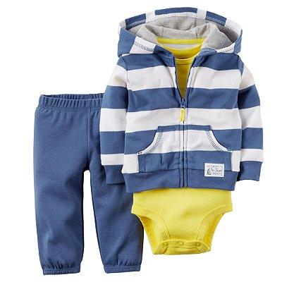 Conjunto Bodysuit Amarelo e Azul Listrado - 3 peças
