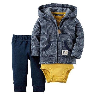 Conjunto Bodysuit Azul e Amarelo - 3 peças