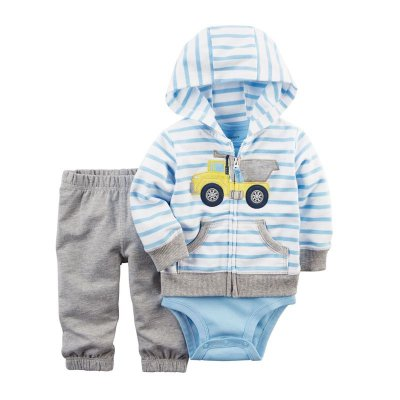 Conjunto Bodysuit Azul Claro Listrado - 3 peças