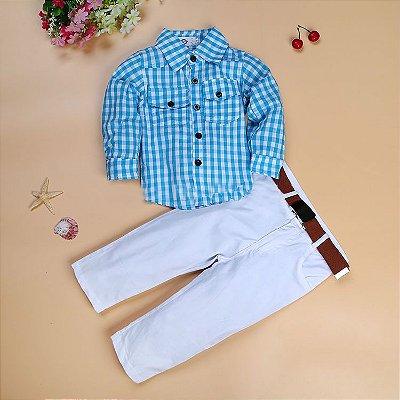 Conjunto Camisa Xadrez e Calça Masculino