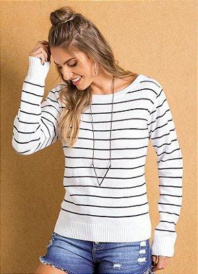 Suéter Tricô Listrado Preto e Branco
