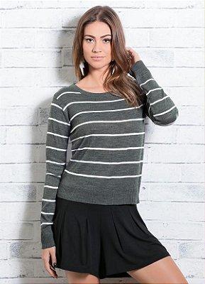 Suéter em Tricô Listrado e Cinza