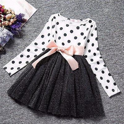 Vestido de Bolinhas Manga Longa - 2 cores