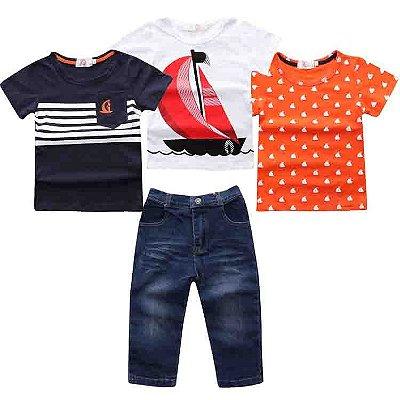 Conjunto Jeans + 3 Camisetas - 2 cores
