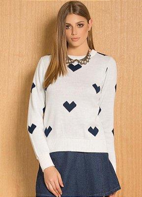 Suéter de Tricô Corações Off-White e Azul